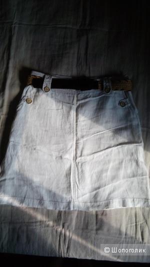 Белая льняная юбка BEHCETTI, размер 40 евро на 46 росс.