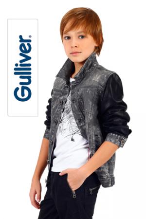 Новая стильная куртка, построенная на сочетании двух фактур. 128 р-р, Gulliver.