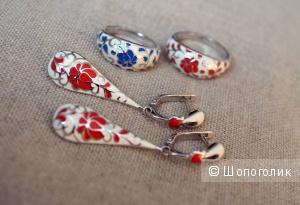 Серебряные серьги + 2 кольца Sokolov  - белая эмаль, цветы.