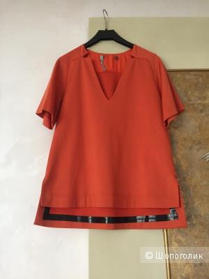 Оранжевая кофта с коротким рукавом MaxMara, маркировка s