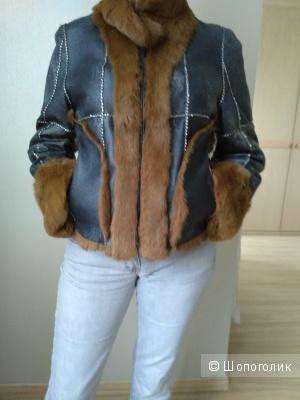 Кожаная куртка на кролике 44-46 р-р