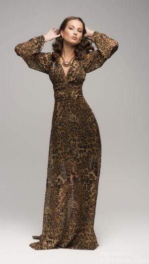 Шифоновое макси платье, XS (40-42).