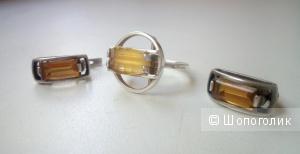 Серьги и кольцо цитрин серебро 925 пробы