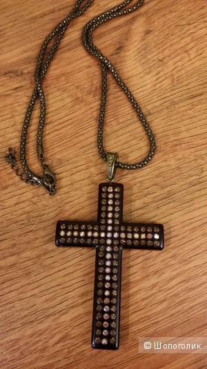 Красивое украшение-подвеска на шею в форме большого креста со стразами, 46 см длина