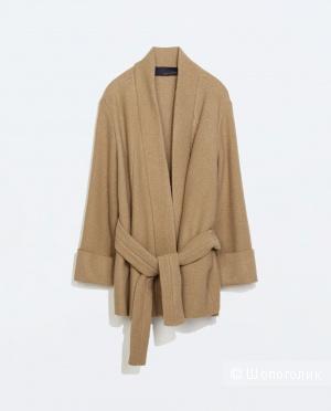 Шикарное бежевое пальто, 100% шерсть из дорогой линейки ZaraStudio, 46-50+