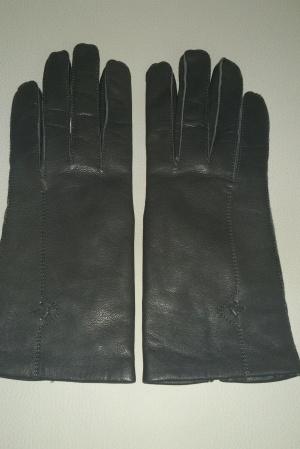 Перчатки кожаные темно-серые на шерстяной подкладке, размер 7, Венгрия