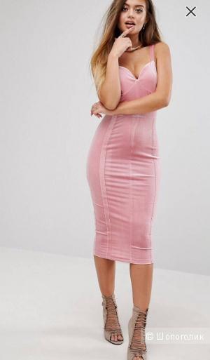 Бархатное платье с формованными чашечками PrettyLittleThing, розовый, 42/44