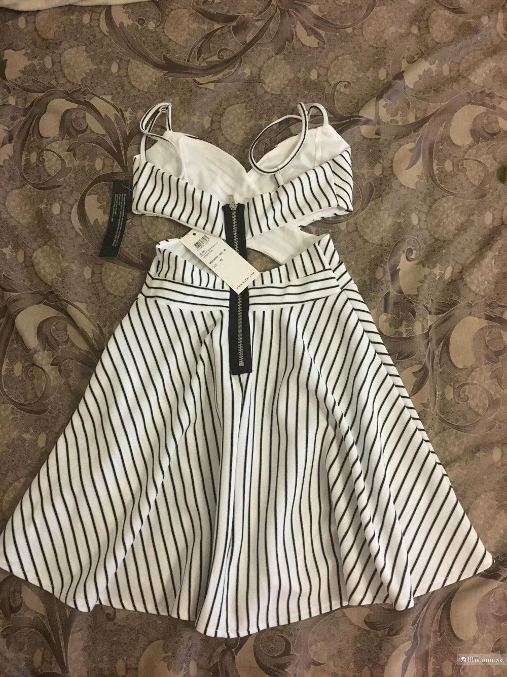 Короткое приталенное платье в полоску с вырезами Wyldr in love, XS