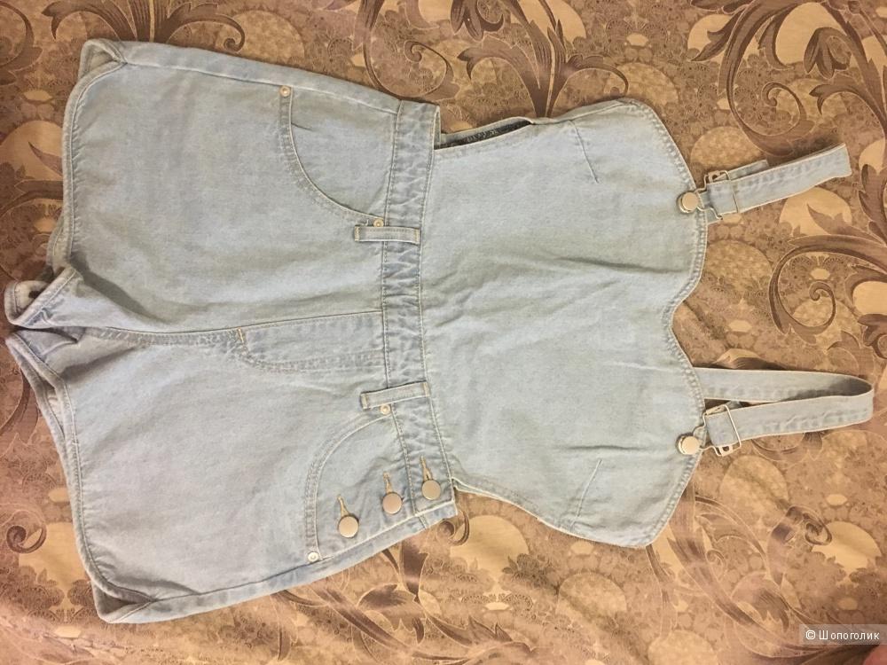 Выбеленный джинсовый комбинезон Boohoo, 40