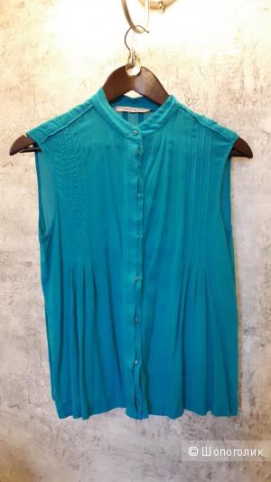 Блузка без рукавов бирюзового цвета из вискозы Pennyblack на 42-44 рос. размер