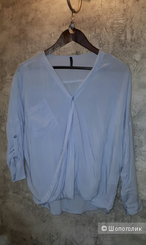 Блузка свободного покроя с запахом из вискозы голубого цвета Freequent размера S