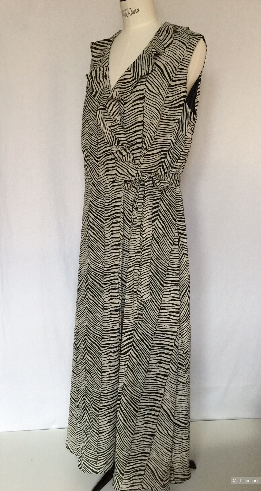 """Платье  длинное с запахом  принт """"ЗЕБРА""""  от марки ULTRA DRESS   размер 52-54"""