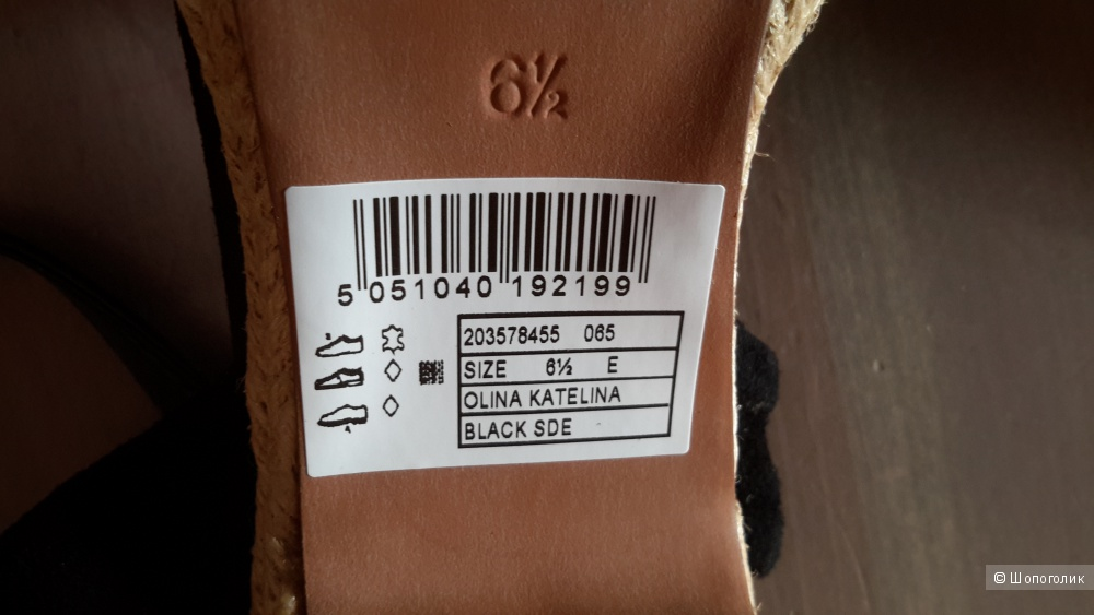 Босоножки Clarks размер 6 1/2 UK ширина E на наш 39,5-40 новые черная замша