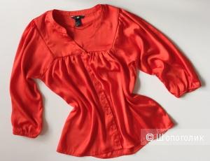 Блузка интересного кроя  ярко- оранжевого цвета от марки H&M размер 40-42