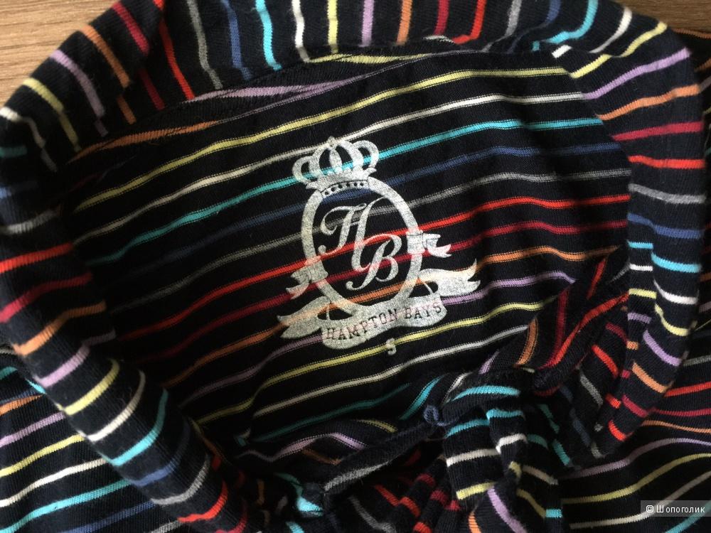 Трикотажная блуза в  цветную полоску с бантом от марки Hampton BAYS размер S
