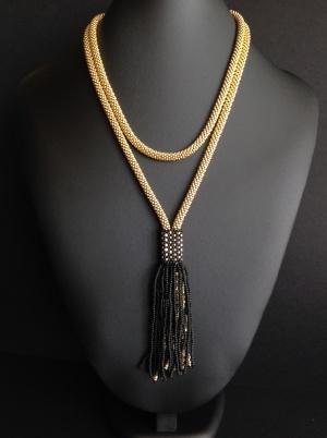 """Украшение """"Сотуар"""", с кисточками, длина 122см, японский бисер с золотым напылением, авторская бижутерия, ручная работа (арт.17/009Л)"""