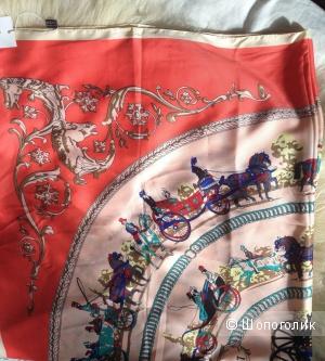 Платок шелковый реплика Hermes размер 110*110 см