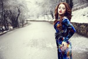 Новое дизайнерское платье в пол ткань ОАЭ осень-зима ращмер s/m