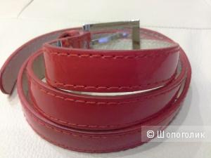 Лаковый ремень, красный,  длина 100 см