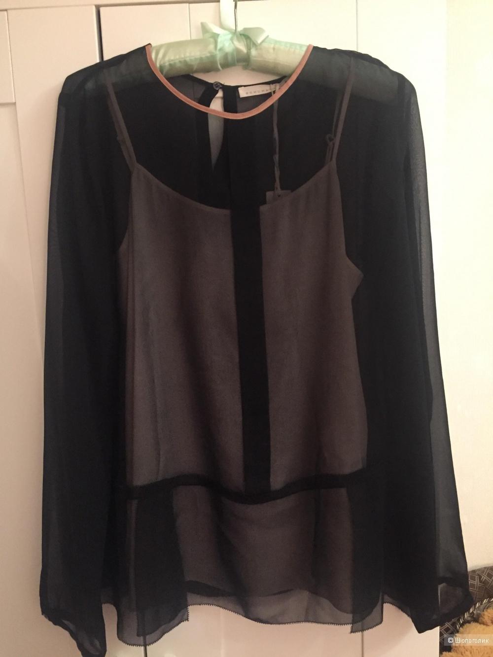 Шелковая черная блузка SCHUMACHER Размер 3, 46 RUS