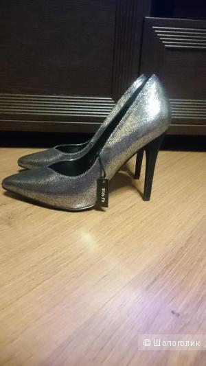 Туфли серебристые new look. р.38