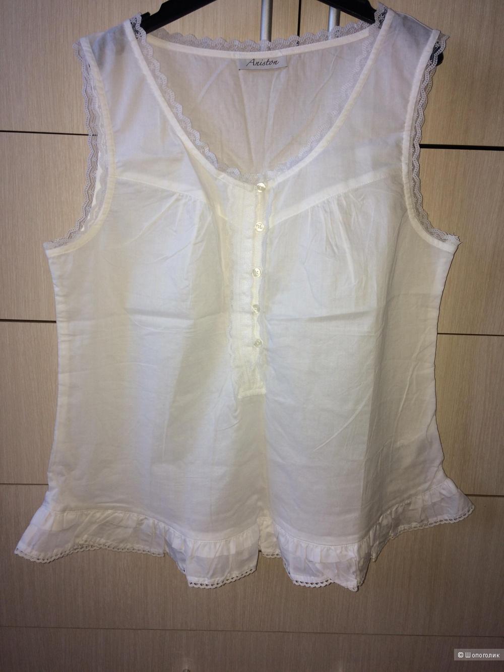 Блузка белая хлопок 48-50разм