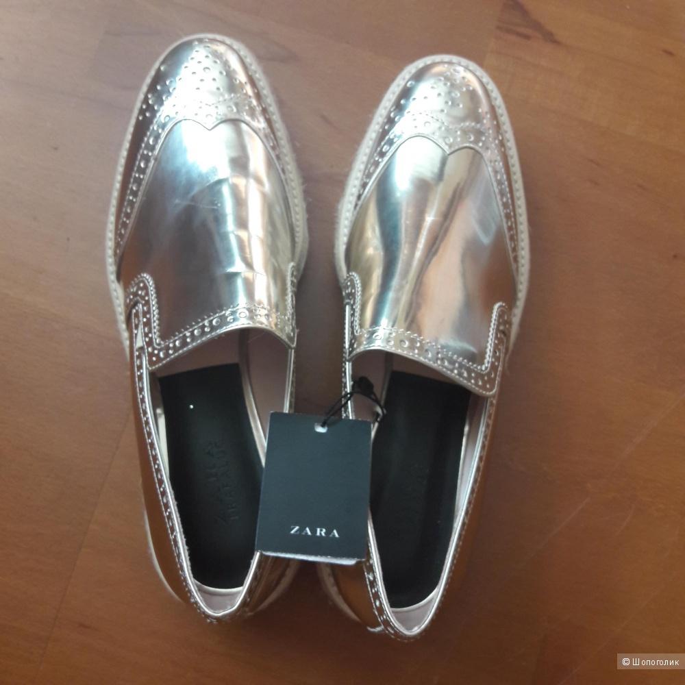 Новые кожаные туфли Zara 40 размера