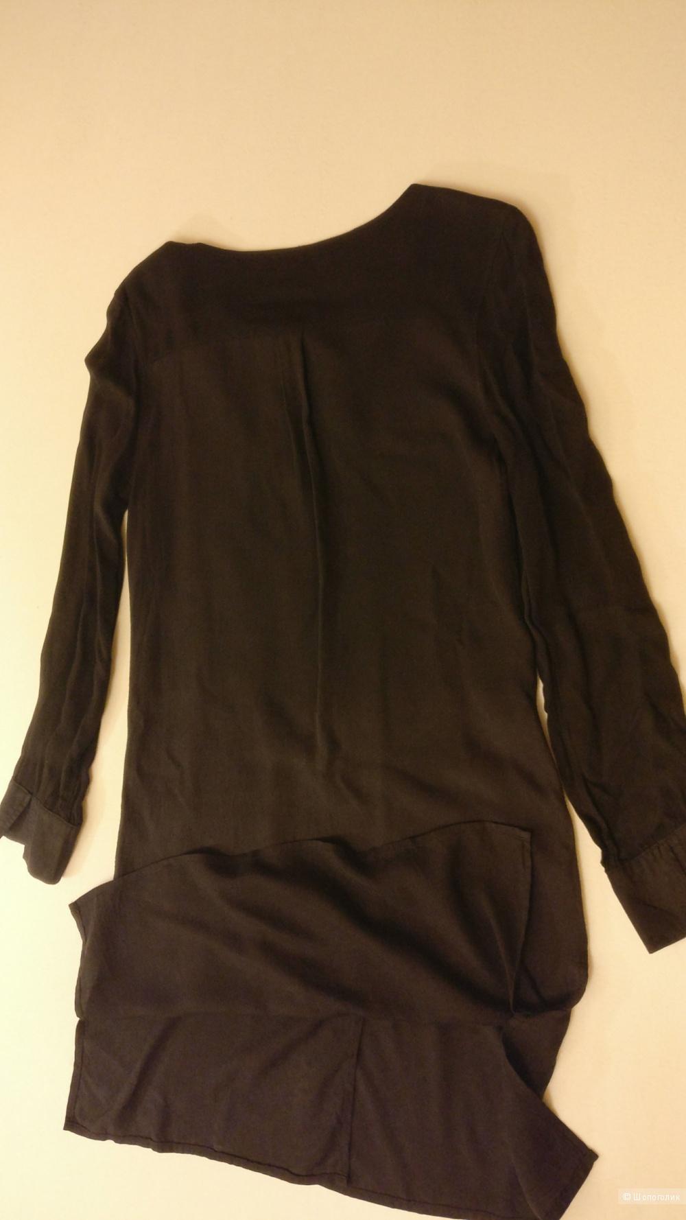 Черное платье Loft из натурального шелка, размер  xs