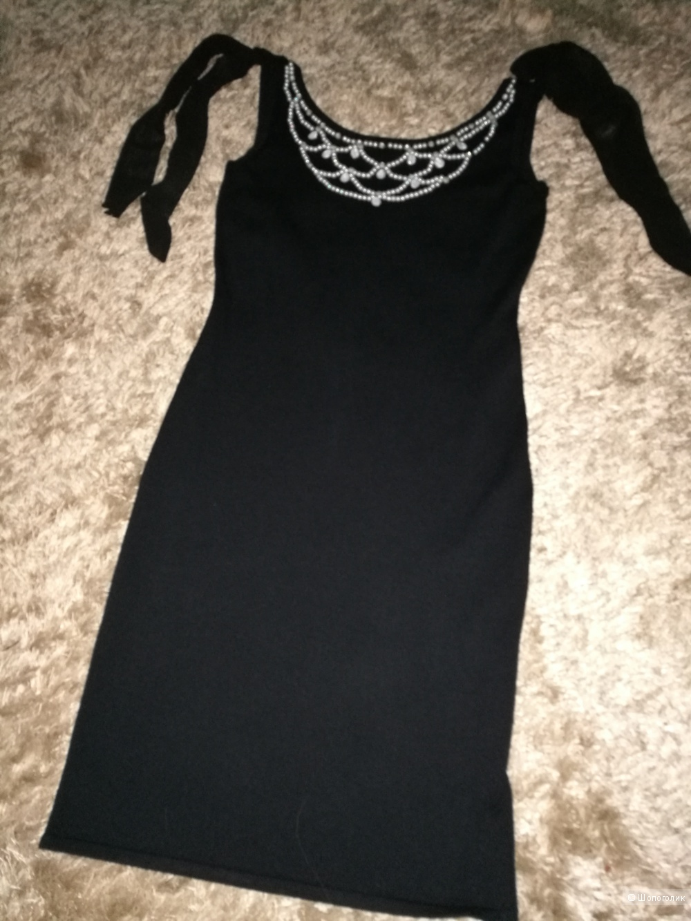 """Черное трикотажное платье """"Sparkle"""" 42 размер."""
