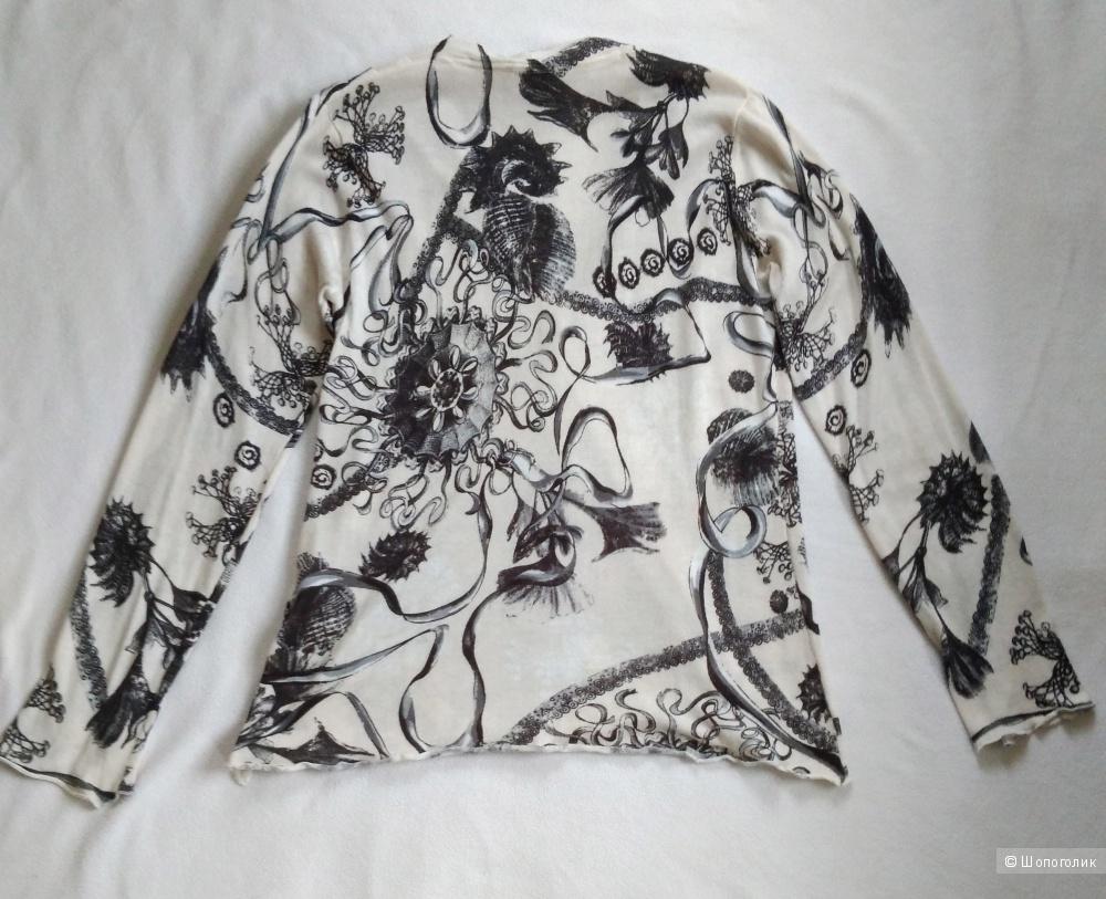 Стильная черно-белая блузка с длинным рукавом Madeleine р48