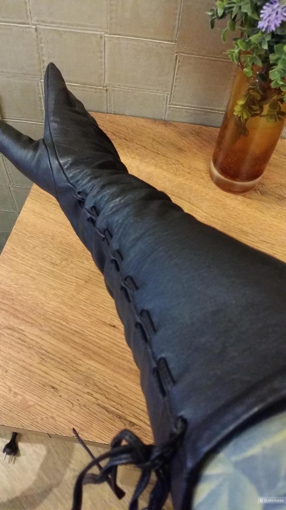 Элегантные, длинные,  перчатки из лайковой кожи шоколадного цвета 8,5 размер