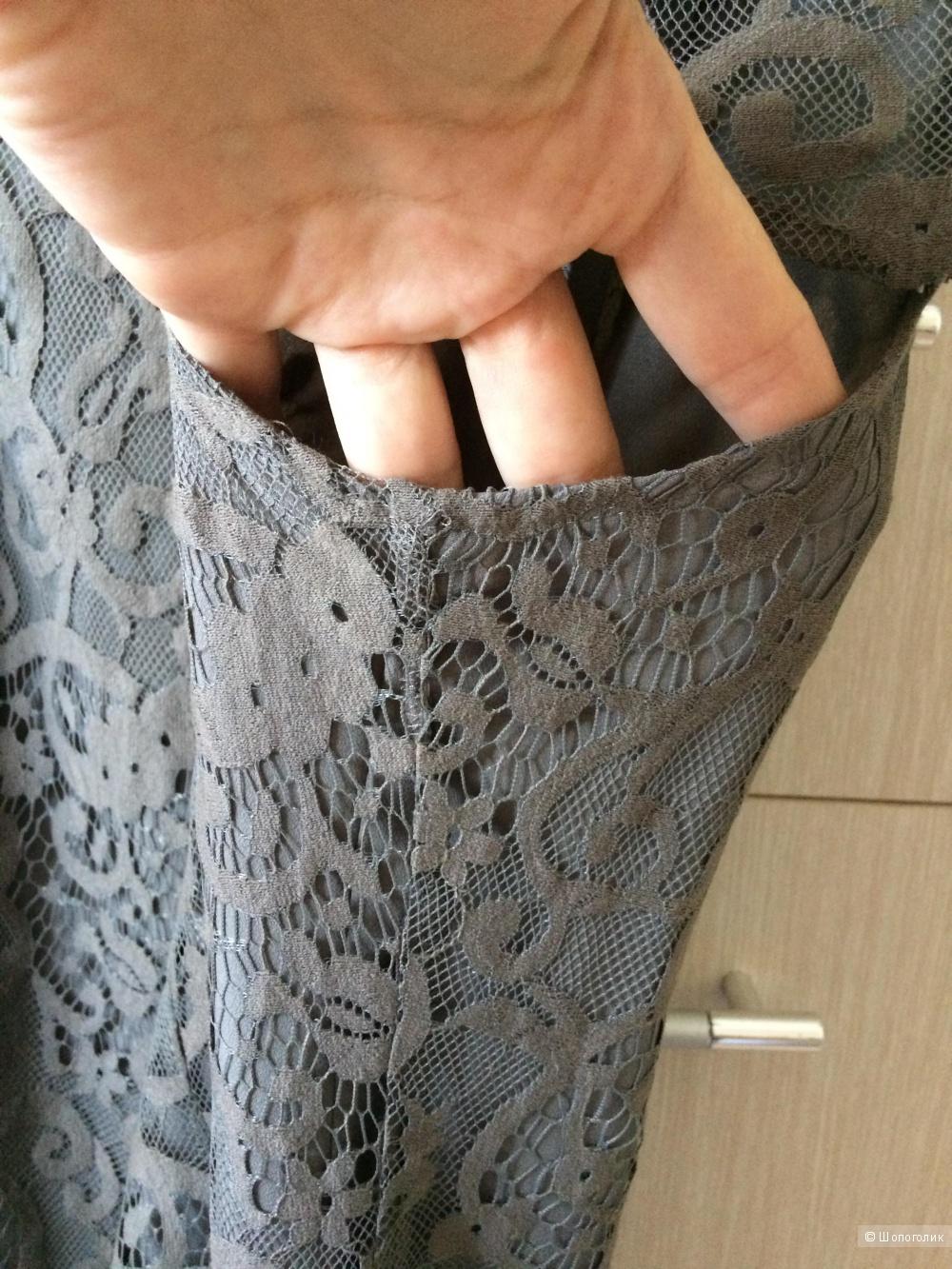 Кружевное платье хаки 48разм