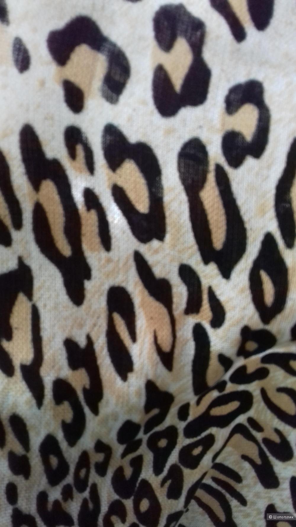 Палантин со звериным принтом, кашемир+ шелк + хлопок, Италия, размер 70 см. на 180см.