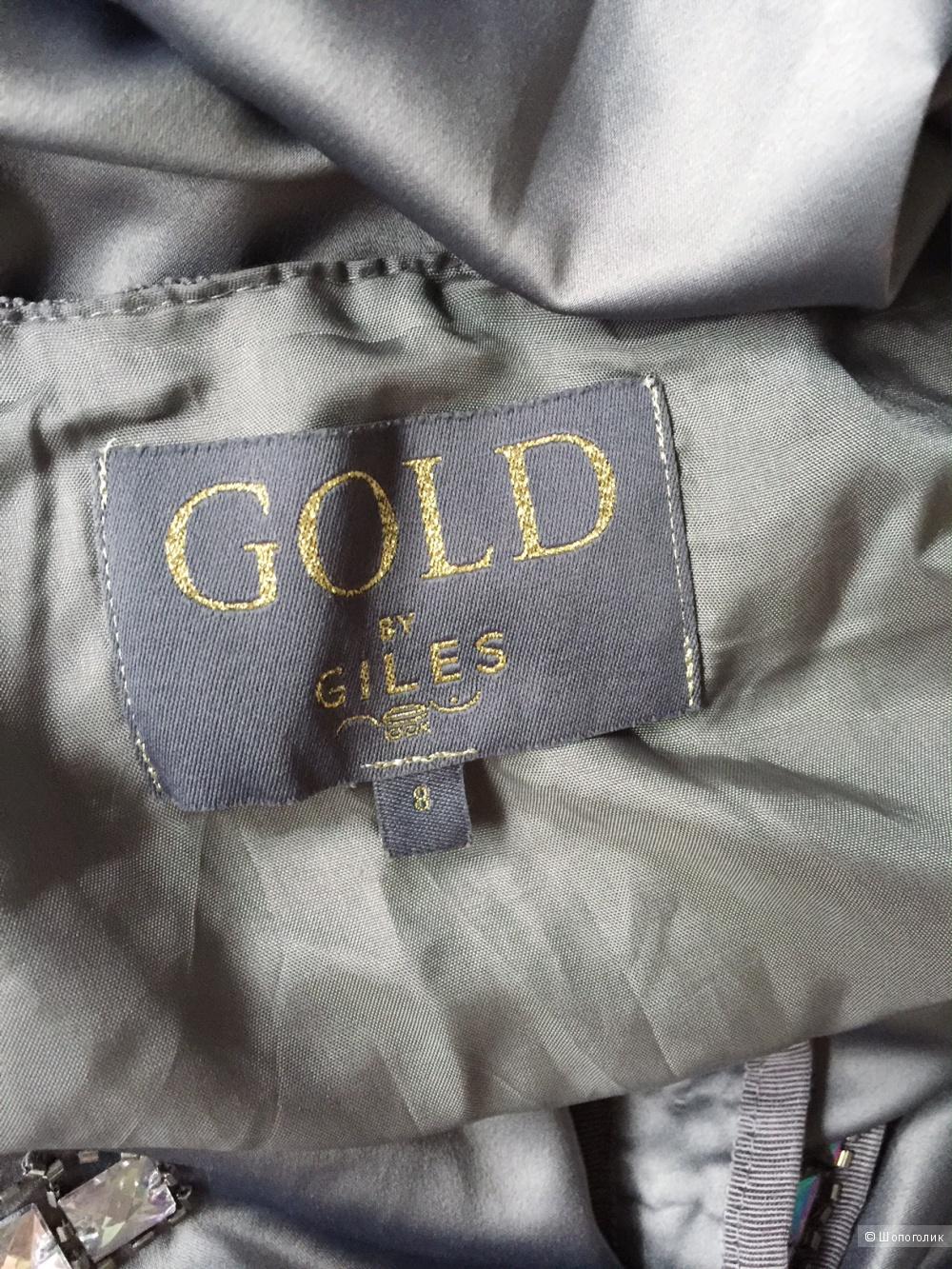 Коктельное платье со стразами стиль Гэтсби марки Gold by Giles 42-44