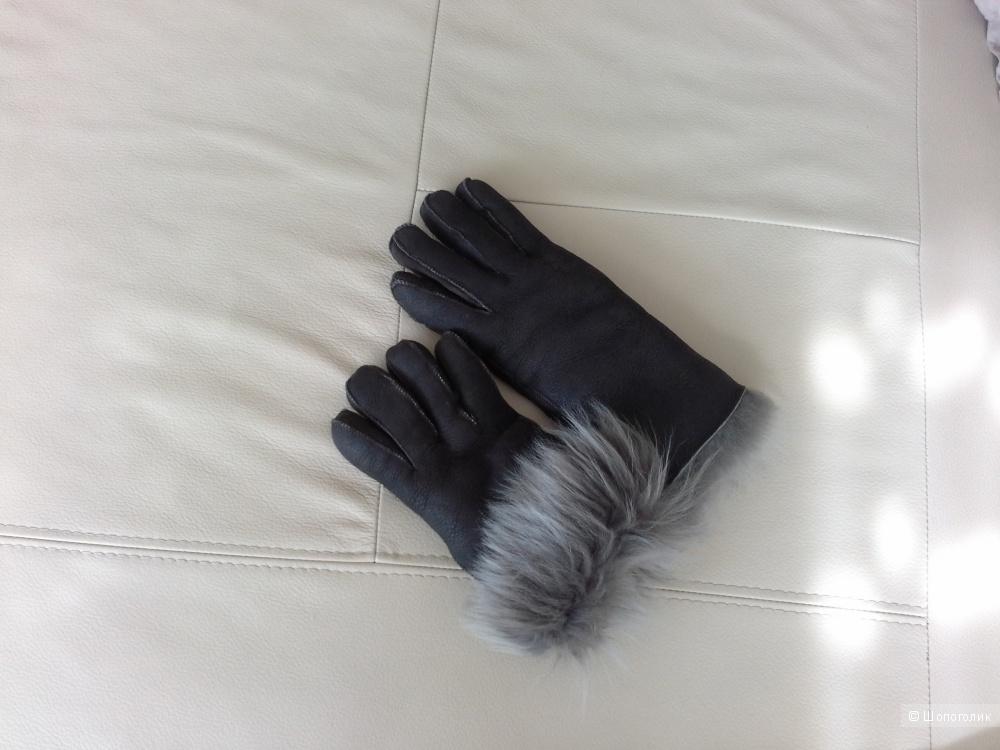 Перчатки, мех коза, натуральная кожа.