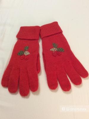 Перчатки из шерсти и ангоры красного цвета р.М (7-7,5)