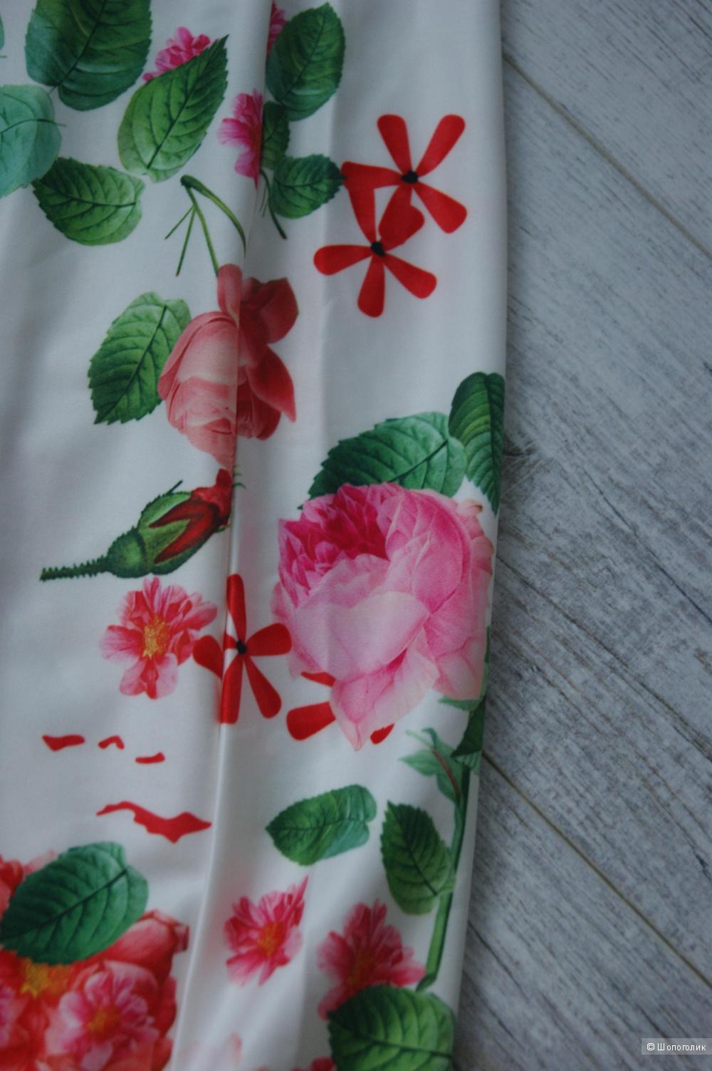 Новое платье с райскими цветами, размер M