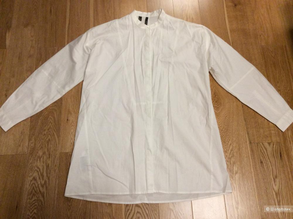 Длинная белая рубашка из хлопка Mango Suit р.М
