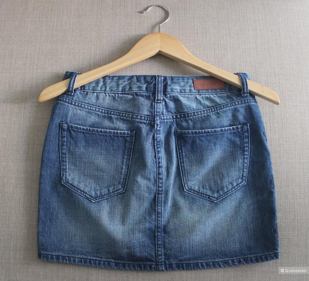 Джинсовая юбка с вышивкой  H&M, размер EU 34