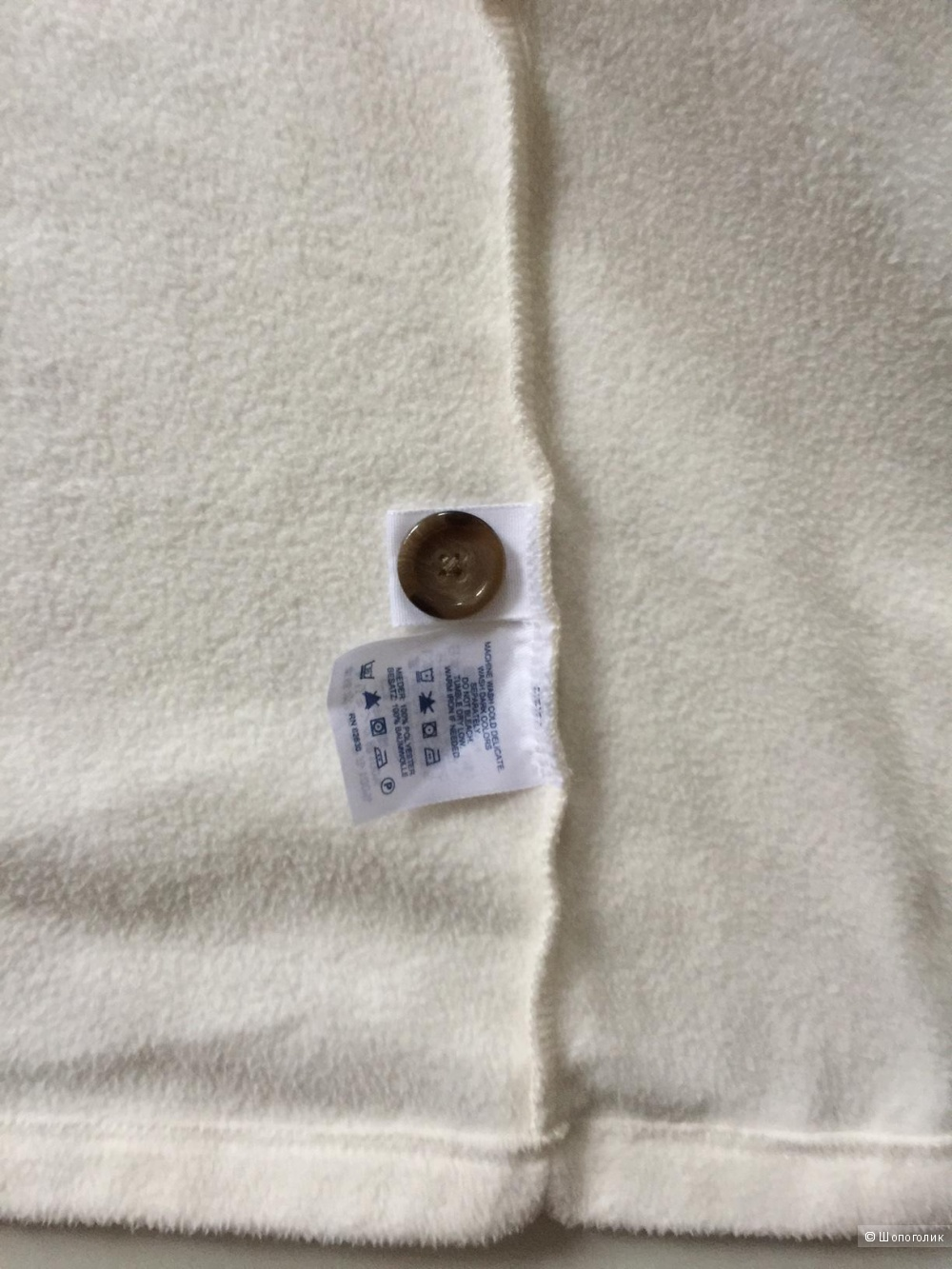 Кофта  белая из флиса с вязанным воротником марка Lands End размер L