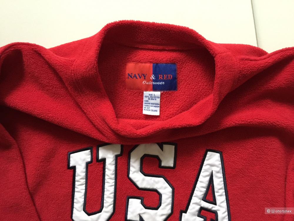 Красный свитшот USA марки Navy & RED размер L