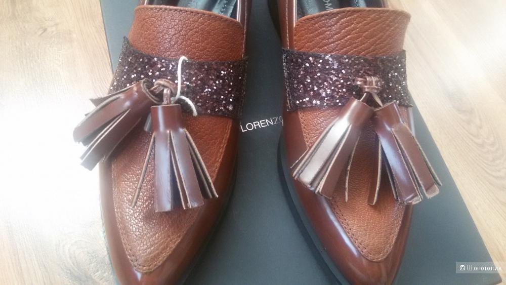 Кожаные лоуферы Lorenzo Mari р. 38 (24,5см)