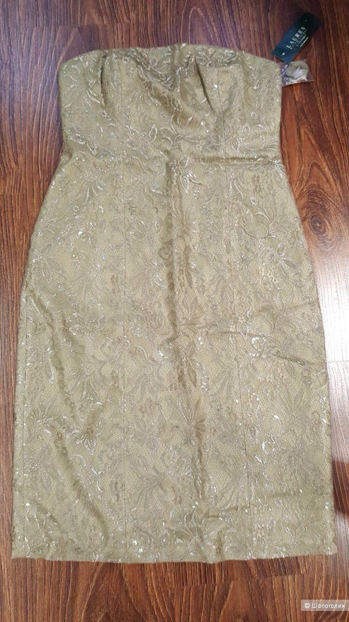 Ralph Lauren платье из золотого кружева Новое Оригинал р.44
