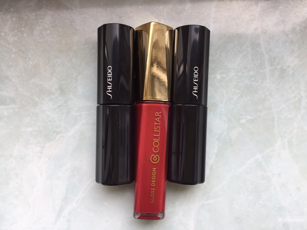 Shiseido жидкая помада GD 817, Shiseido жидкая помада  PK 425, Collistar № 12.