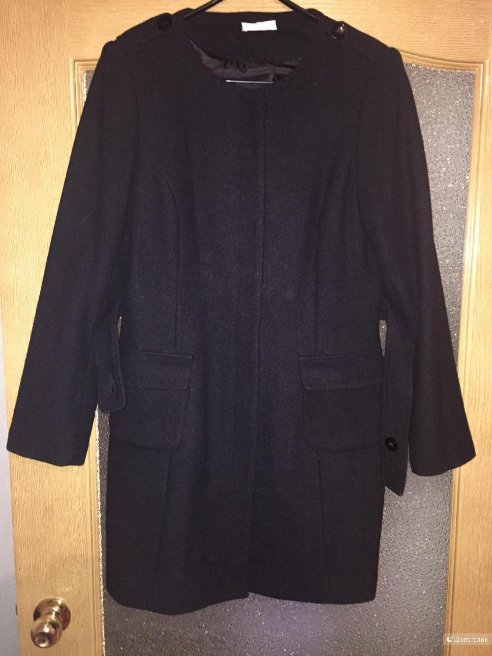 Полушерстяное чёрное  пальто Promod, размер 44-46