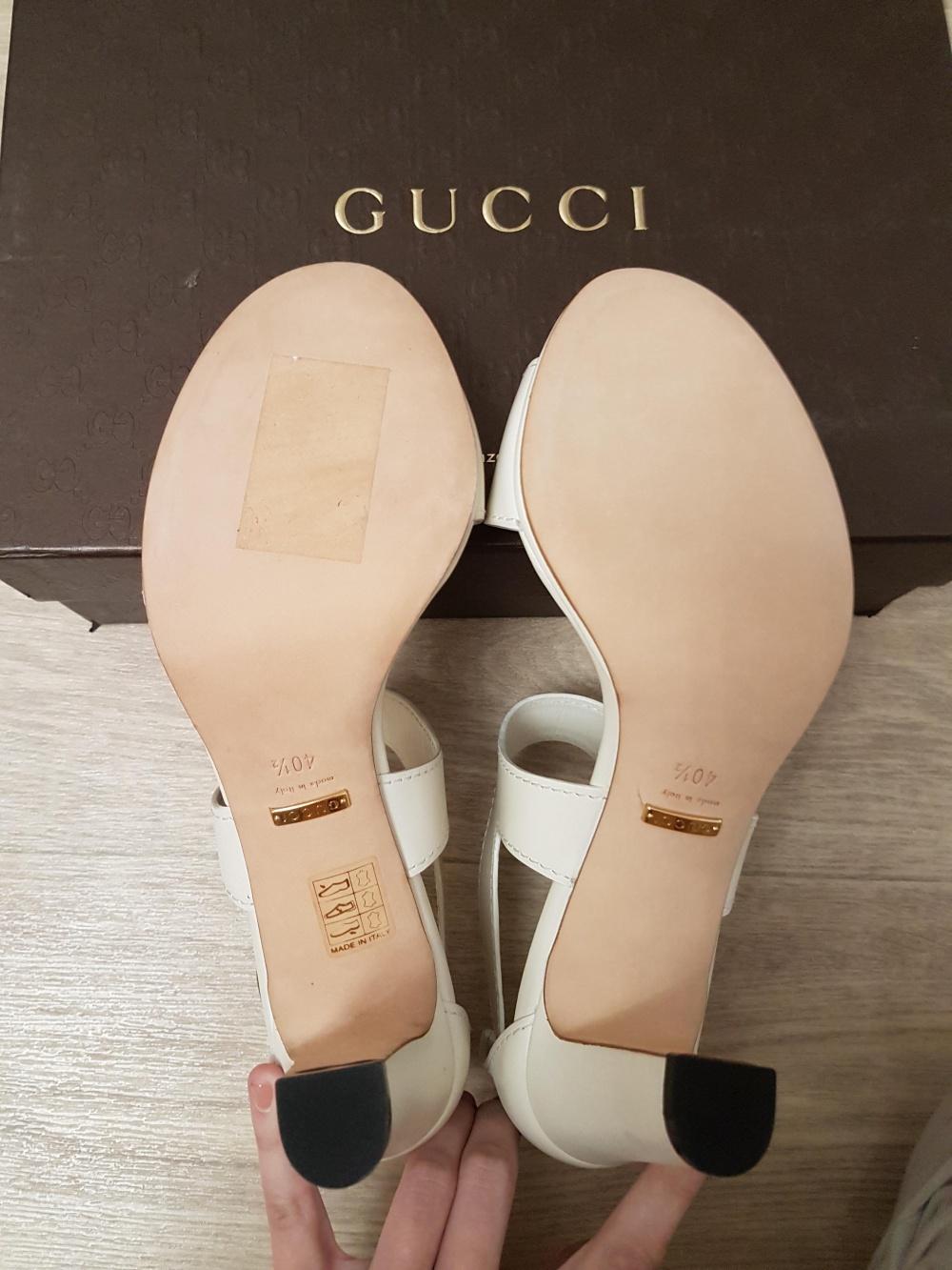 Белые босоножки Gucci, кожа, размер 40-40,5