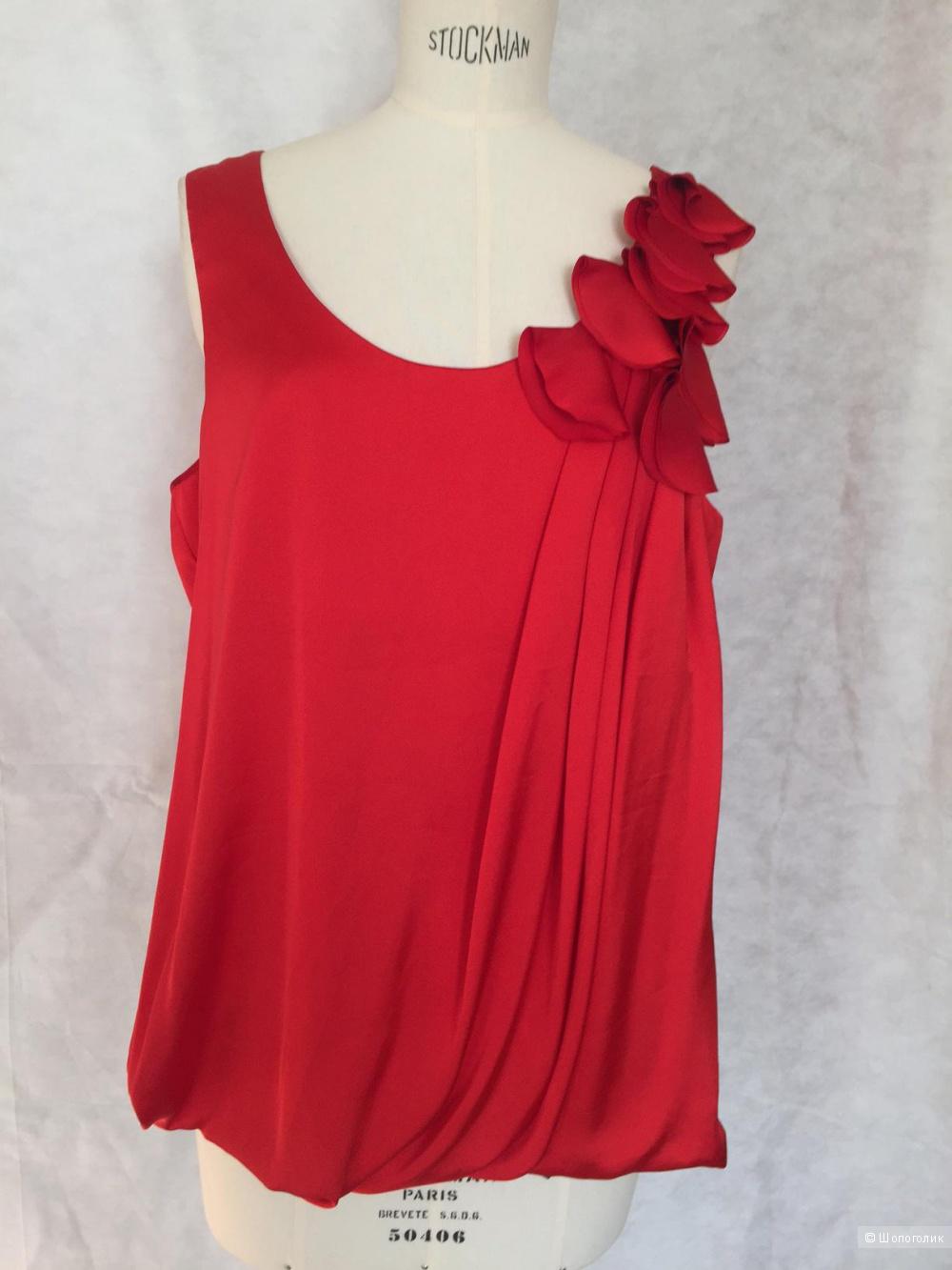 Шикарнейший Красный топ с отделкой под цветы марка H&M размер 52-54