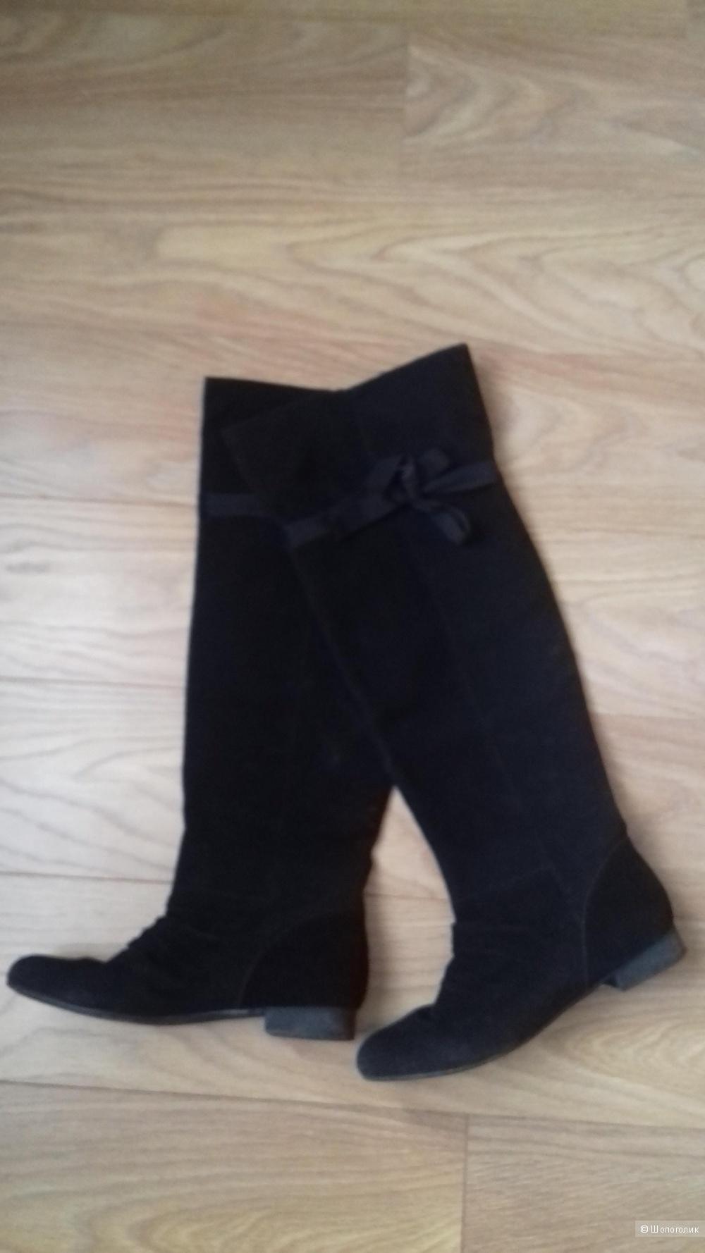 Ботфорты Delosso, черные, замшевые, размер 40