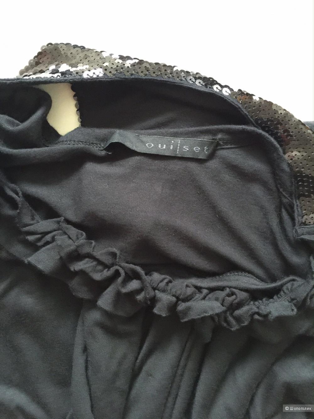 Платье МЕЧТЫ! черное с отделкой из пайеток марки OUI SET рамзер 42-44