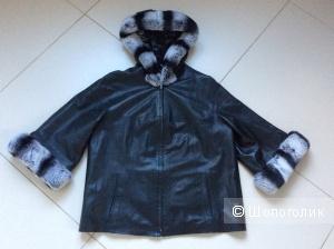 Двусторонняя кожаная куртка с меховой отделкой р.46-48